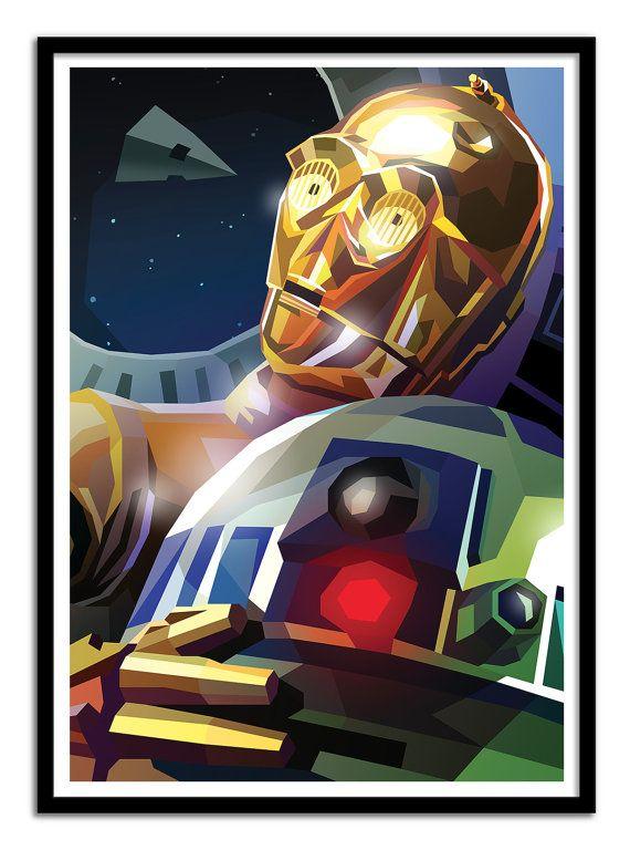 Arte del cartel - cartel 50 x 70 cm - Star Wars R2D2 y C3PO ...