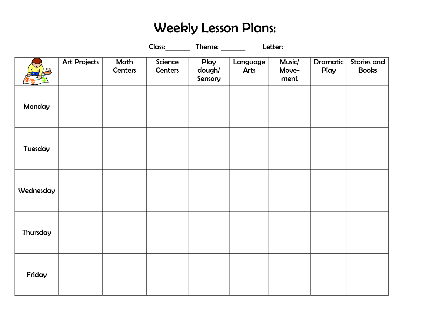 Weekly Preschool Lesson Plan Template  PreK    Lesson