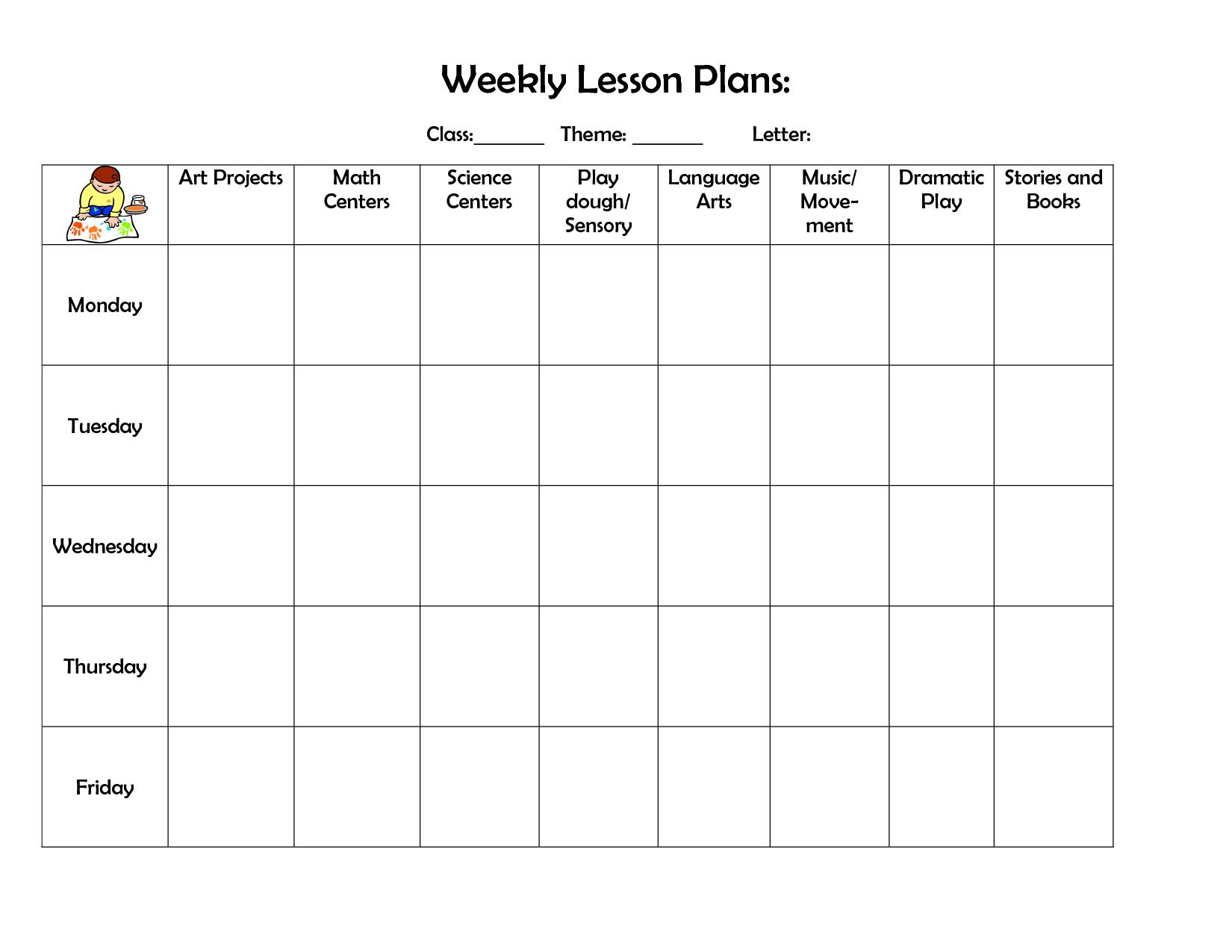 Toddler Lesson Plans For October Preschool Lesson Plan Template