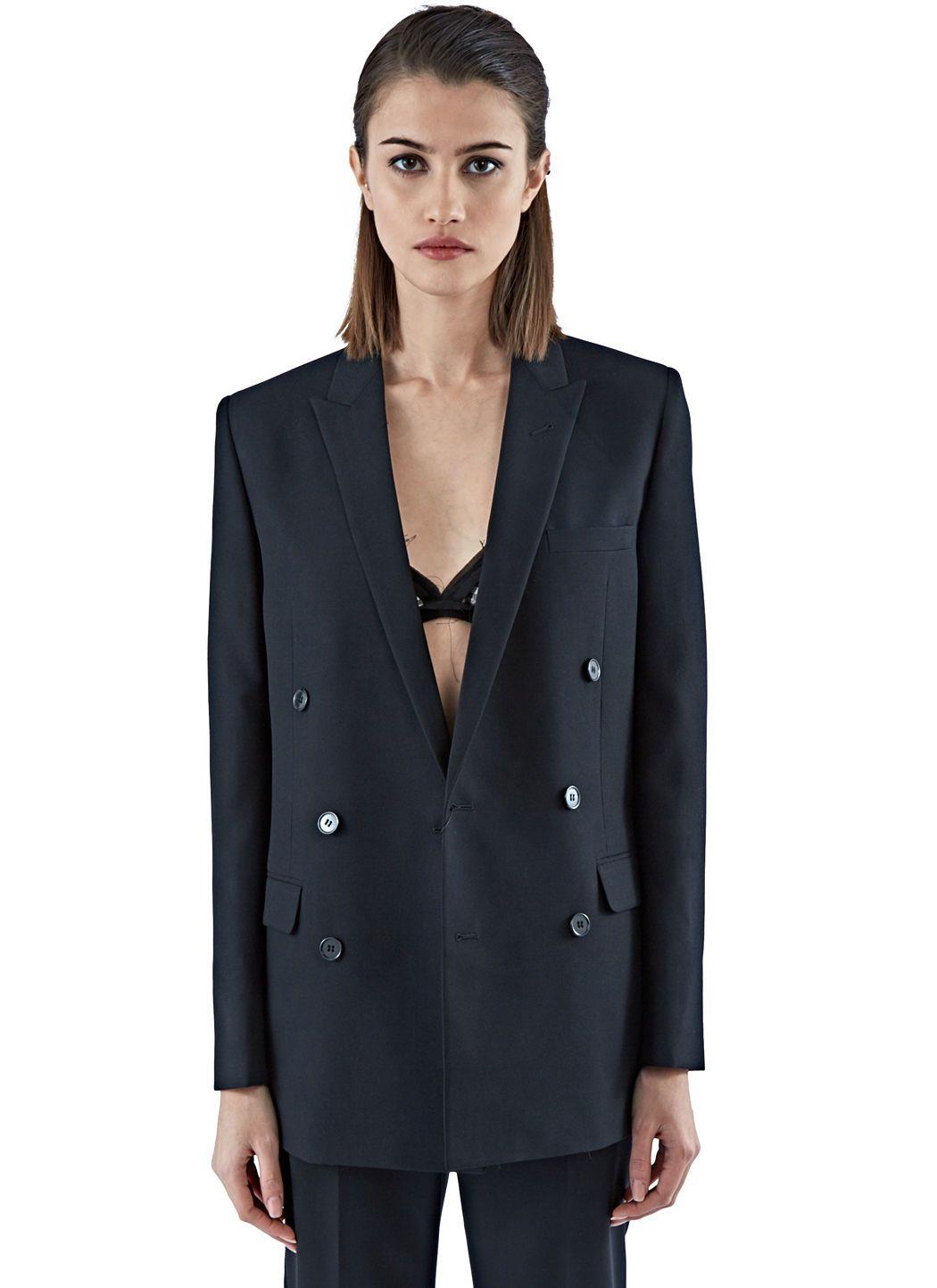 Saint Laurent Women S Double Breasted Tuxedo Jacket In Black