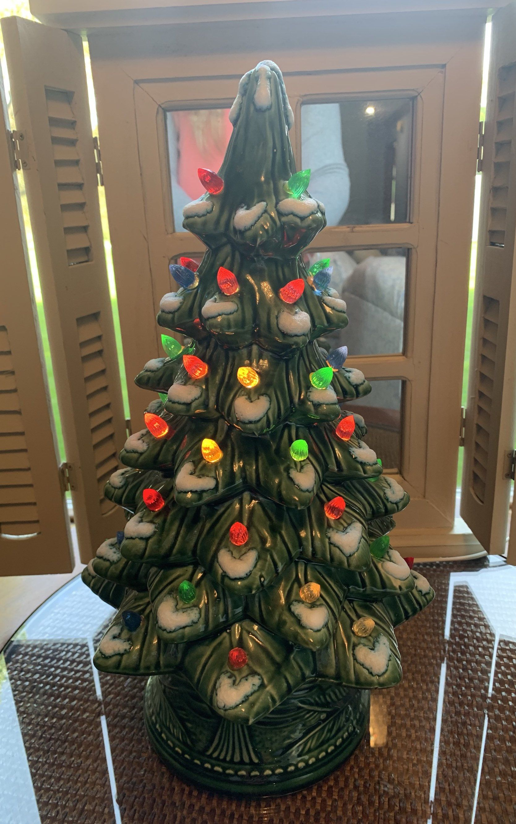 Vintage Green Flocked 15 Inch Ceramic Christmas Tree w