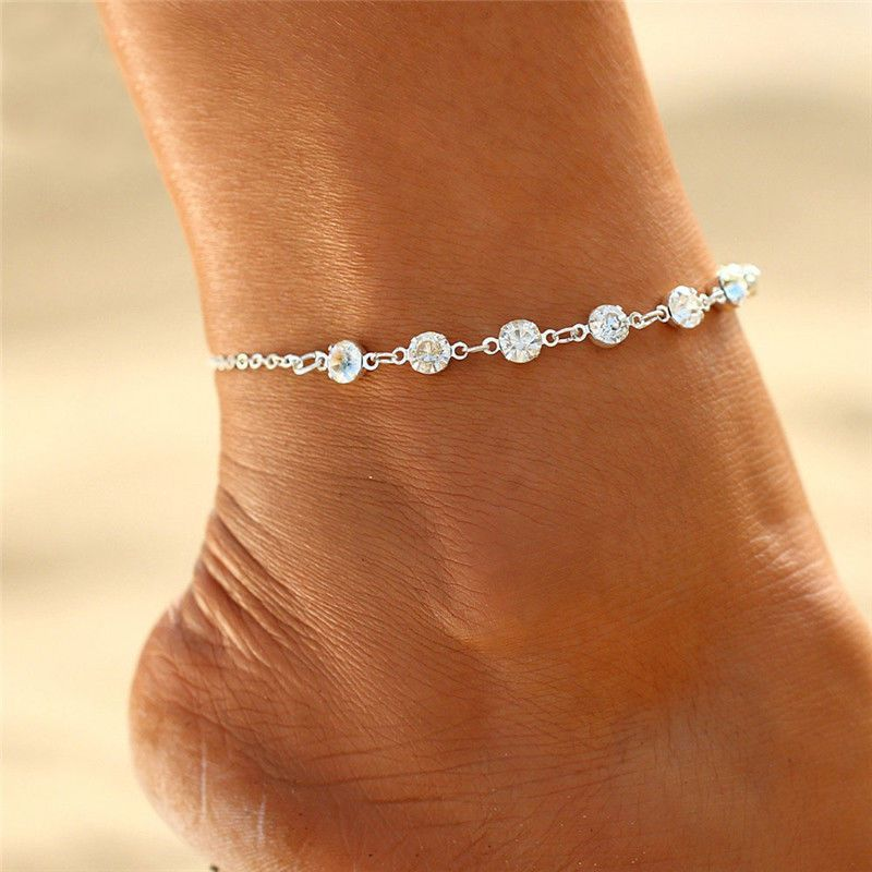 Vintage Boho Ladies Silver Foot Chain Ankle Flower Love Heart Anklet Bracelet