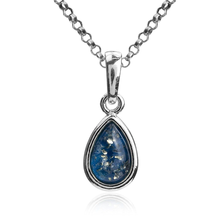 Blue Amber Sterling Silver Small Drop Pendant Chain 46cm F32SgsEqQ