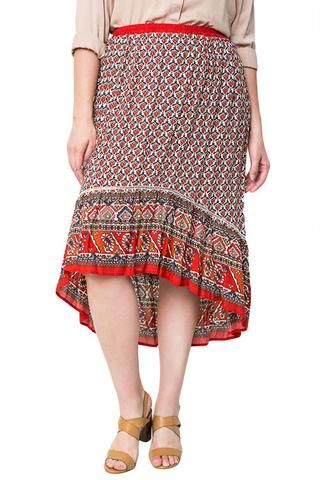MIX PRINT HIGH LOW SKIRT PLUS