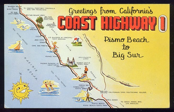 Coast Highway 1 postcard Pismo Beach to Big Sur map www ... on