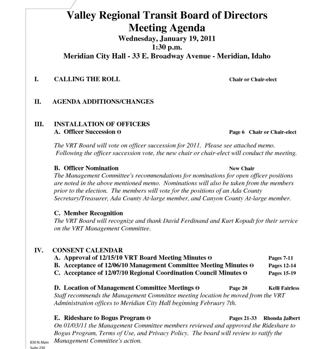 Free Agenda Format For Board Meeting Monzaberglaufverband Inside