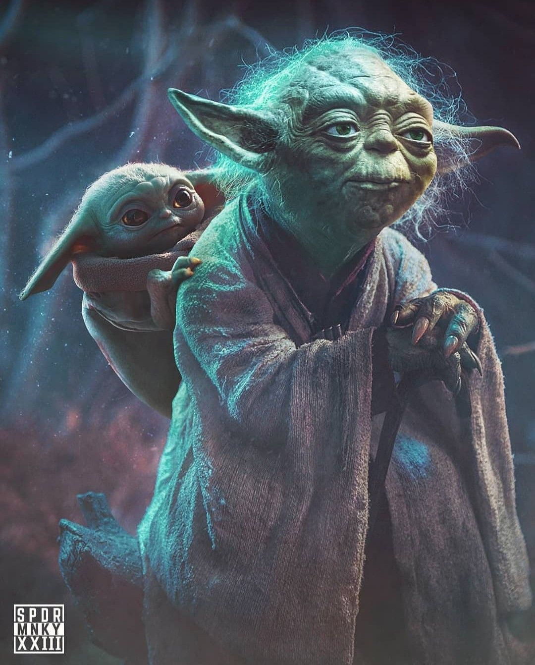 Master Yoda With The Child In 2020 Star Wars Images Star Wars Memes Star Wars Pictures