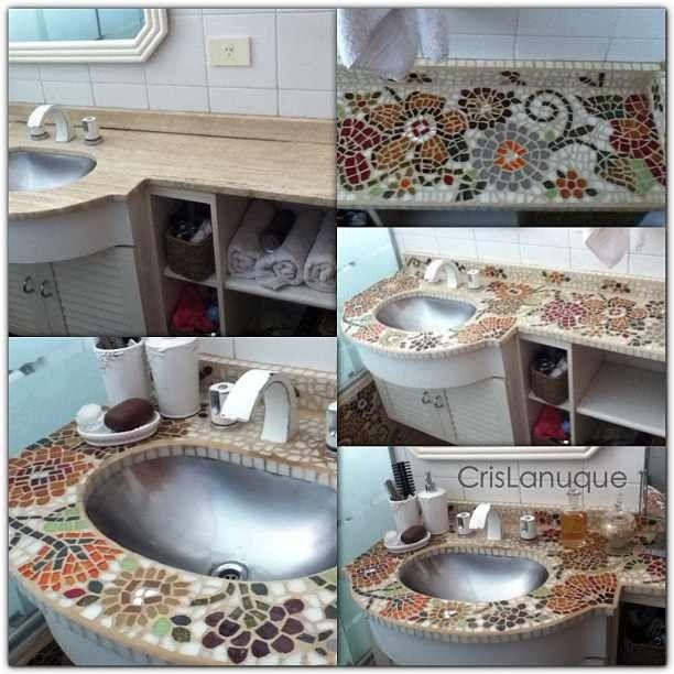 bao reciclado mesada revestida con venecitas y espejos