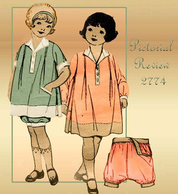 1920s Dress Pattern Vintage Pictorial Review 2774 Toddler Girls ...