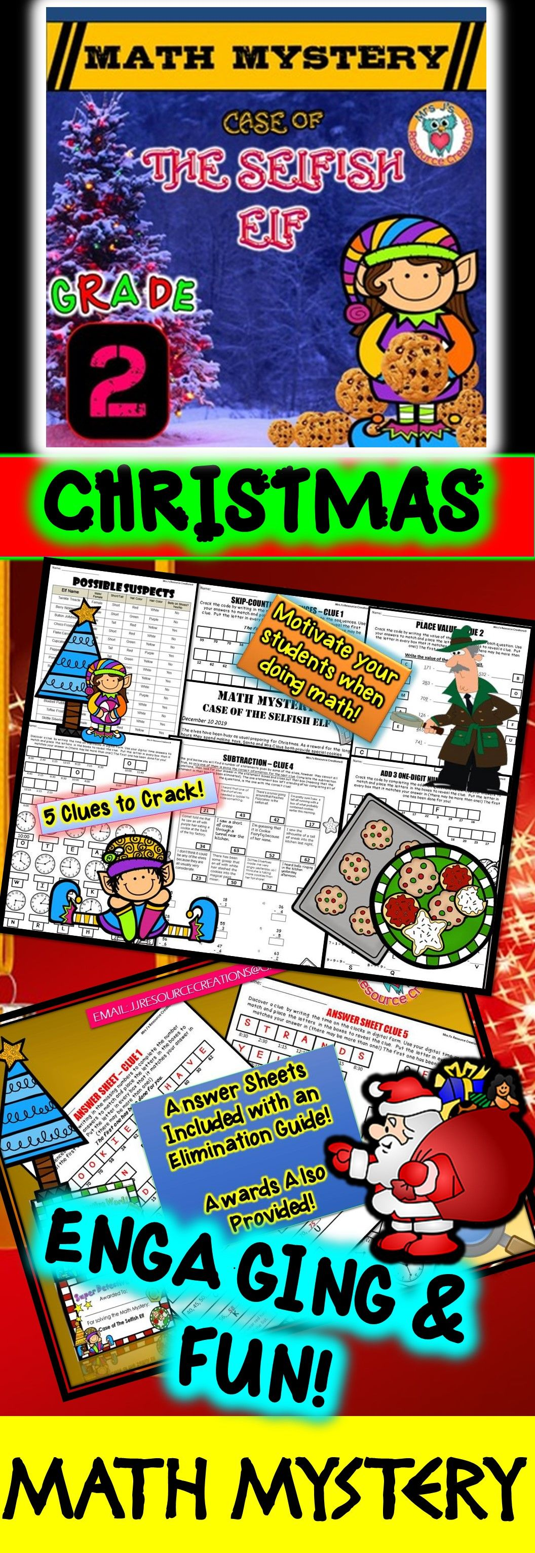 2nd Grade Christmas Activity Christmas Math Mystery