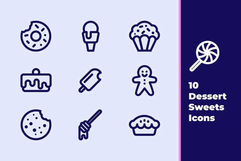 Desserts and sweets icons by evoriadesign on envato elements