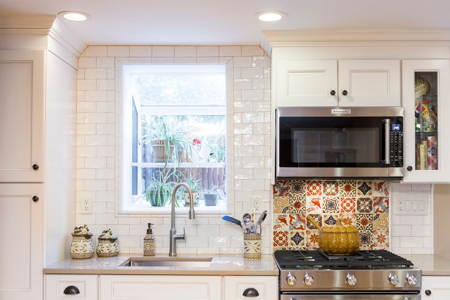 Eclectic kitchen in a historic townhouse in jersey city featuring