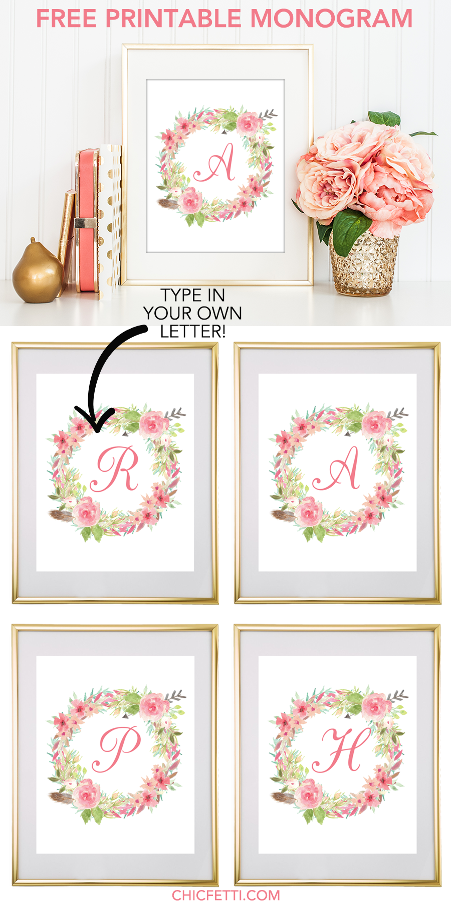 181df73c4 Free Printable Water Color Floral Wreath Monogram Maker from @chicfetti -  click through to make your own monogram!