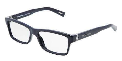 005c655111 Dolce & Gabbana Eyewear: model 3129 - Men Ophthalmic Collection.  Rectangular Glasses with Navy Blue Frame in Plastic.