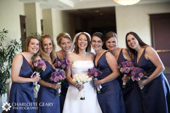 Navy Blue Bridesmaid Dresses With Dried Lavender Bouqets Navy