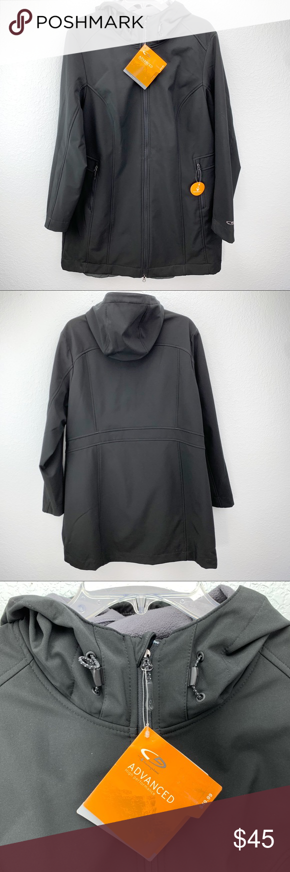 CHAMPION Men/'s Venture Dry Black Water Resist Soft-shell Hood Jacket Size XXL