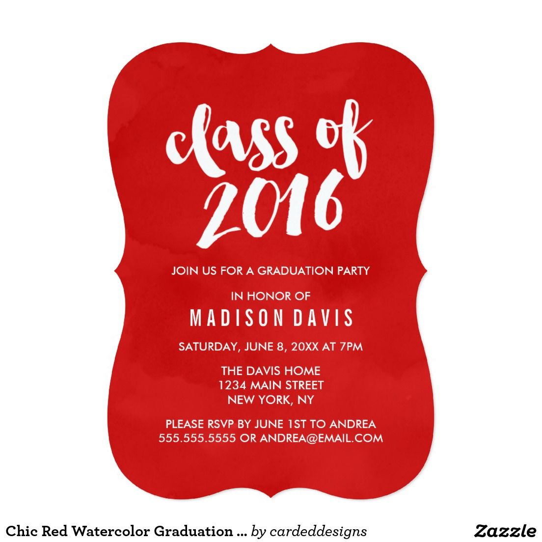 Chic Red Watercolor Graduation Party Invitation | Graduation | Pinterest