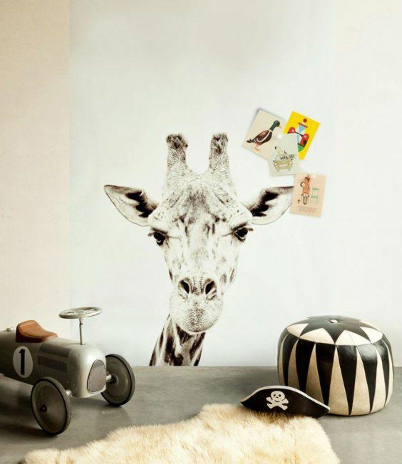 kinderzimmer gestalten mit tapeten giraffe muster | sga ideen ... - Ideen Kinderzimmer Tapeten Muster