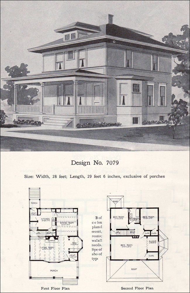 Ordinary Prairie Foursquare House Plans #1: Prairie Box - American Foursquare - 1908 Radford Plan No. 7079