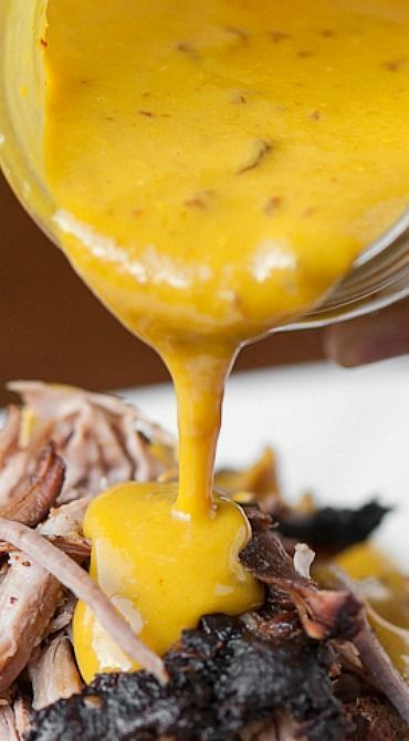 Carolina Mustard Barbecue Sauce _ Ditch your standard BBQ sauce & whip up a batch of this easy to make, spicy, & flavorful Carolina Mustard Barbecue Sauce next time you fire up the grill!