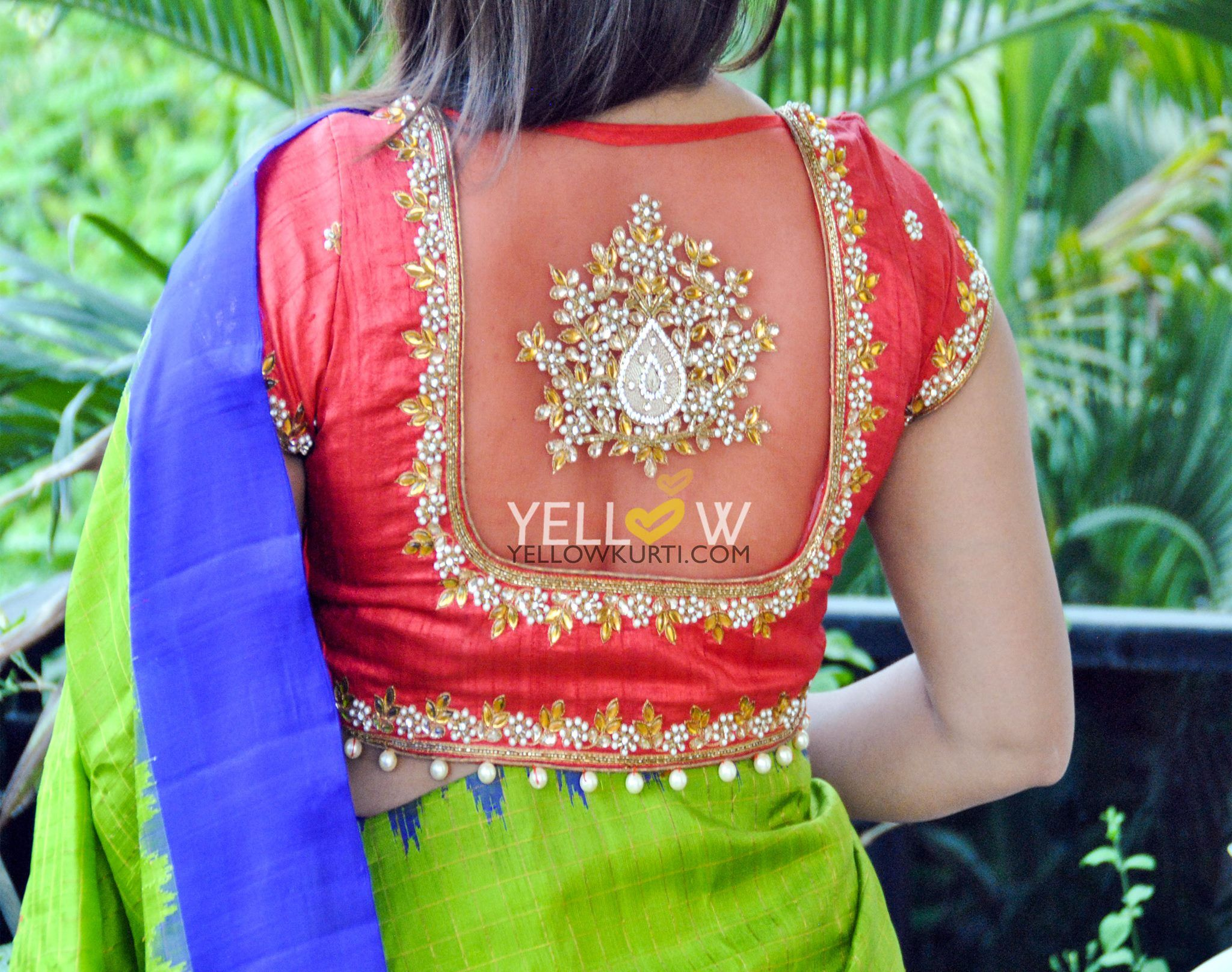 4f34ba454991b Creative blouse back neck designs also for silk saree blouses rh ar  pinterest