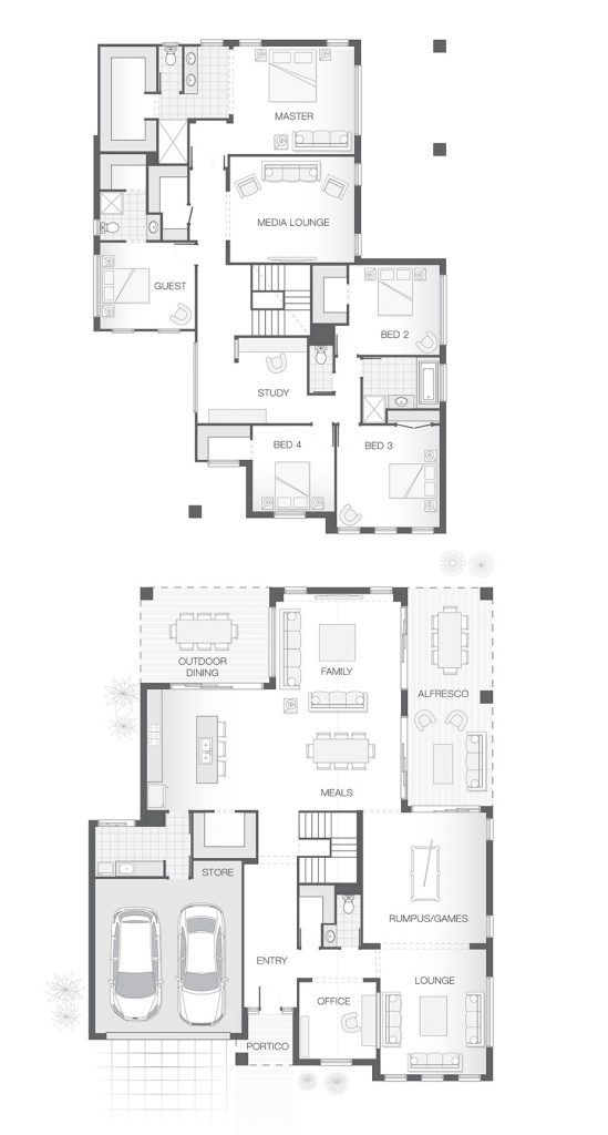 5 Bedrooms 3 5 Bathrooms Amp 2 Car Garage Multiple Living And Entertaining Spaces Both Upsta Double Storey House Plans Home Design Floor Plans House Plans