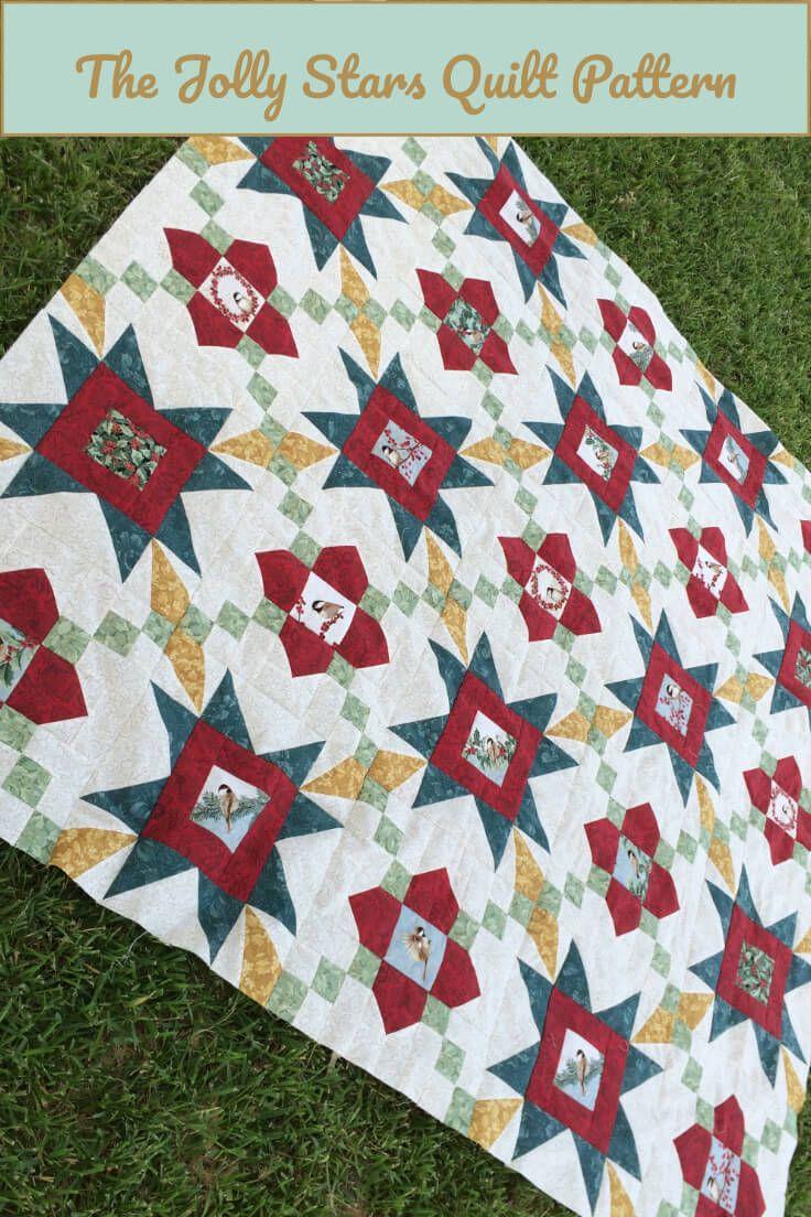 Kerst Quilt Patronen.Jolly Stars Quilt Pattern Kerstquilt