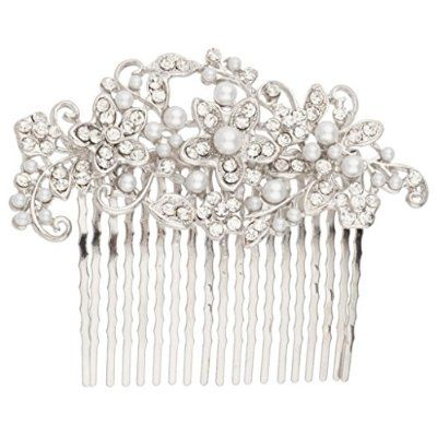 Lux Accessories Floral Pave Faux Pearl Flower Crystal Hair Bridal Comb buy today at mariescrystals.com