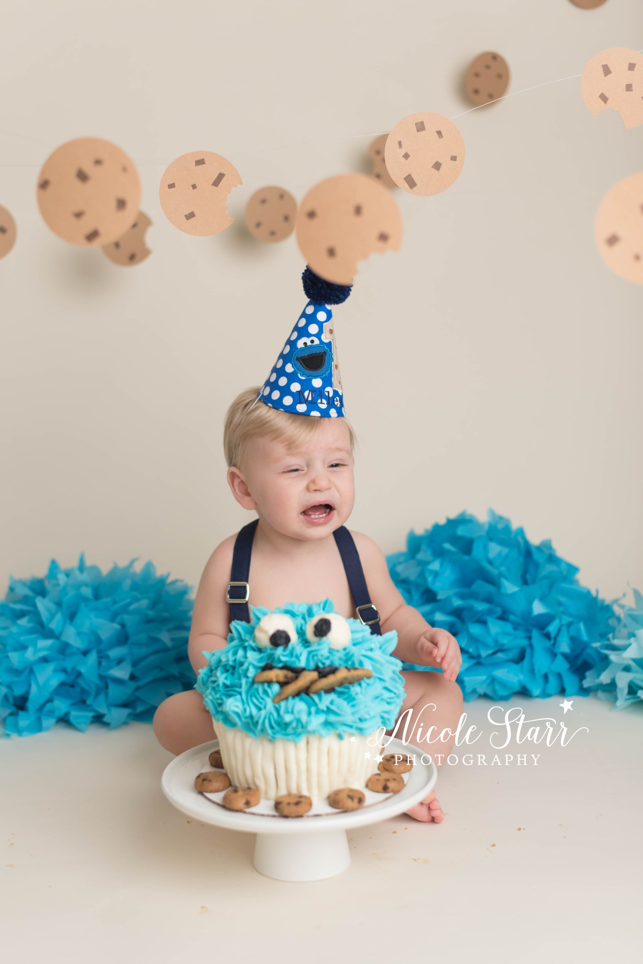 Phenomenal A Cookies Milk First Birthday Cake Smash Session With Images Personalised Birthday Cards Beptaeletsinfo