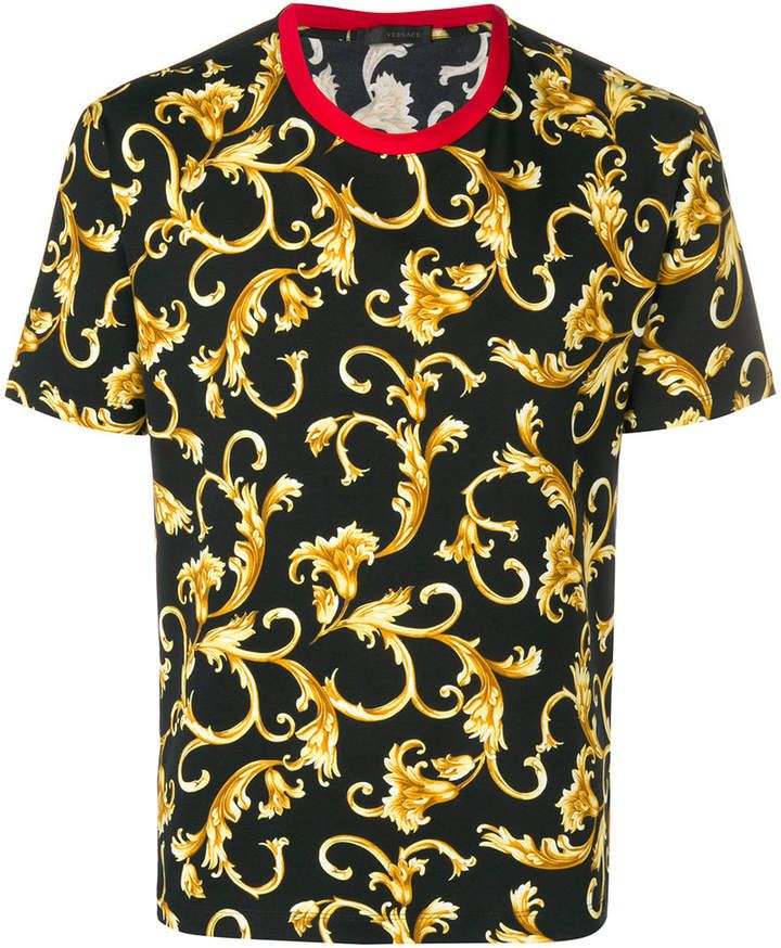 28d2798758e9 Versace baroque patterned T-shirt   Products   Shirts, Versace, T shirt