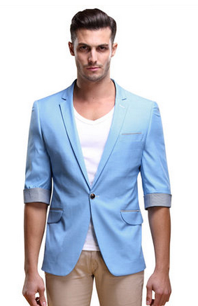 Chic Light Blue Summer Short Sleeve Blazer | www.pilaeo.com #men's ...