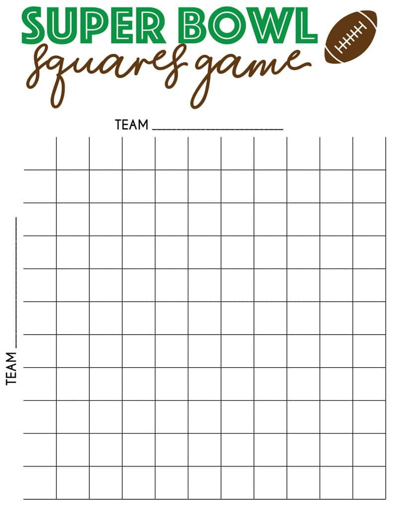 Free Printable Super Bowl Squares Template Superbowl Squares Football Squares Football Squares Template [ 1035 x 800 Pixel ]