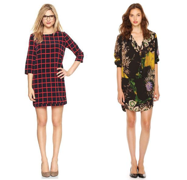 The Dress To Own Now: The Mini Long Sleeve Dress Printed Three Quarter Sleeve Dress, $74.95 CAD, GAP Printed Crepe Dress, $39 CAD, Joe Fresh