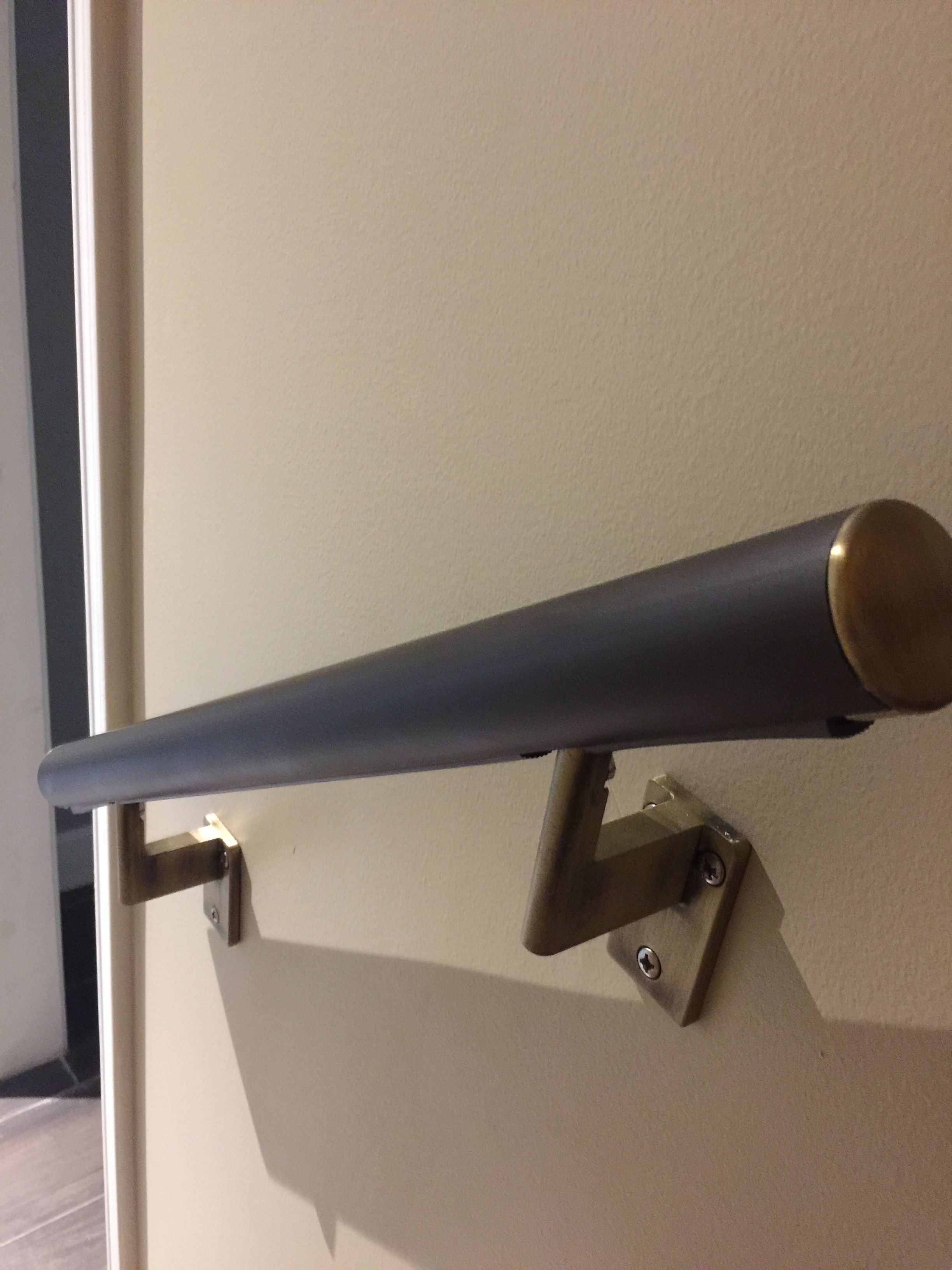 Promenaid Architectural Bronze Anodized Aluminum With Antique Brass Wall Brackets And Endcaps Farther Pt Houston Aluminum Handrail Handrails Ceiling Lights