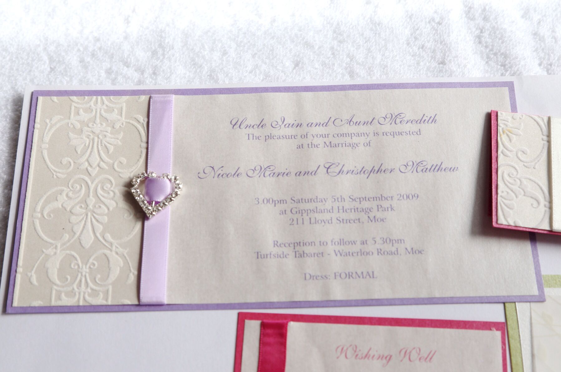 DL Landscape Invite...ribbon, bling and flocked paper. | Wedding ...
