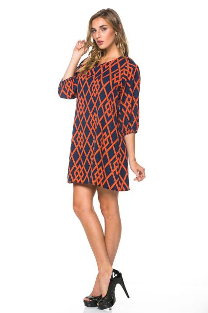 Auburn 3Qtr Sleeve A-Shape Woven Printed Dress.  Free shipping! #Auburn #auburntigers #Auburntigersgirls #navyandorange #Auburnfootball