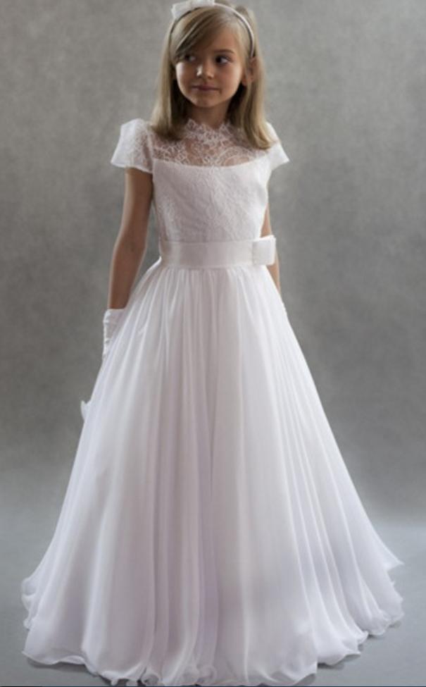 830b9a5b0 Flower Girl Dress, White Girls First Communion Dresses, White ...