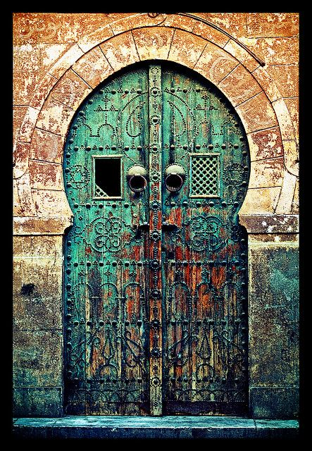 Africa Old Tunisia Door--© Slim Letaief muted colour Pinterest