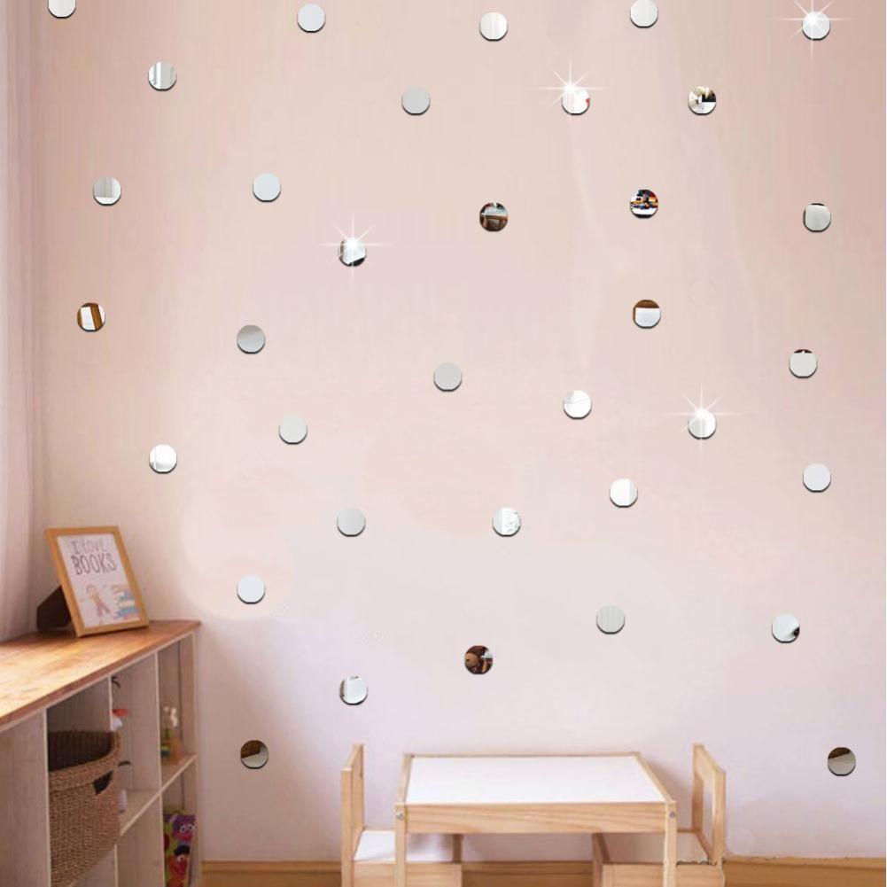 50pcs Set Diy Acrylic Mirror Dot Wall Stickers Decals Home Living