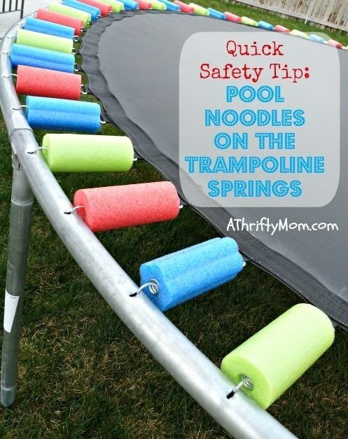 Pool noodles on trampoline to protect little fingers from the springs.