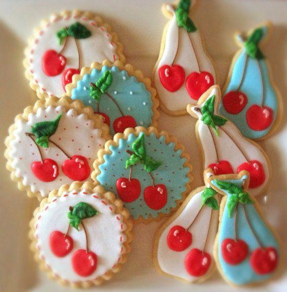 12 Vegan Vintage Cherry Decorated Sugar Cookies