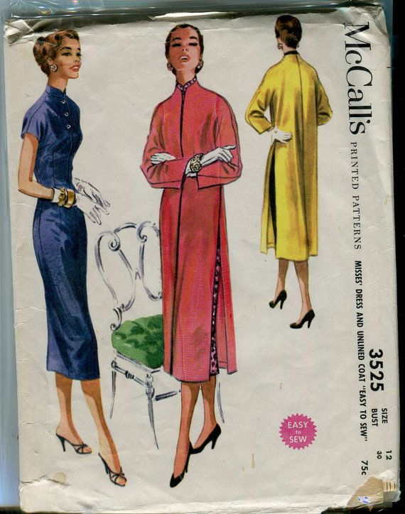 McCalls 3525 - Vintage 50s Asian inspired Dress and Unlined Coat ...