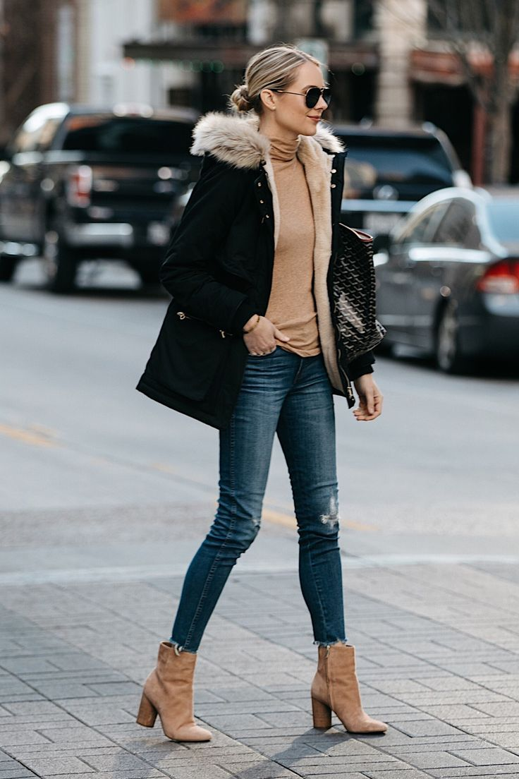 88f39b60ff88 Blonde Woman Wearing Zara Faux Fur Trimmed Black Parka Jacket Denim Jeans  Tan Turtleneck Sam Edelman Corra Booties Fashion Jackson Dallas Blogger  Fashion ...