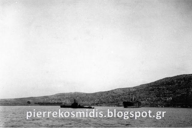 In this rare and previously unpublished photo, dated April 1941, HMS Rover is seen in Souda Bay, Crete.