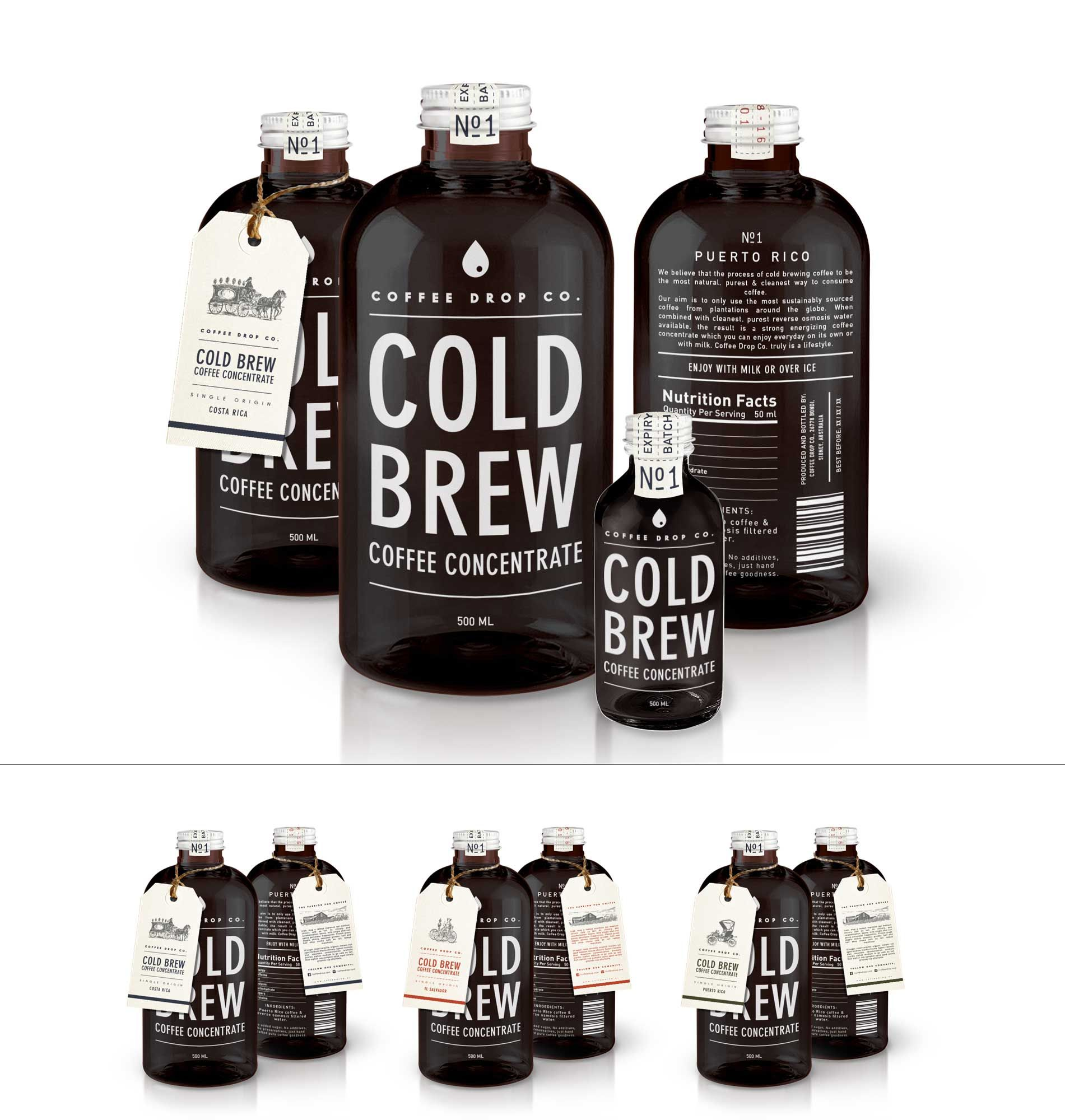 Coffee Drop Co. Cold Brew Packaging Coffee label, Cold