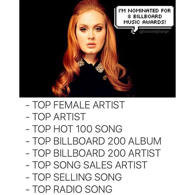 Congratulations to our Queen Adele for being nominated 8x at the #BBMAs 2016 for TOP FEMALE ARTIST TOP ARTIST TOP HOT 100 SONG TOP BILLBOARD 200 ALBUM TOP BILLBOARD 200 ARTIST TOP SONG SALES ARTIST TOP SELLING SONG TOP RADIO SONG (Billboard Music Awards will be on May 22nd) #adele #billboardmusicawards #bbmas
