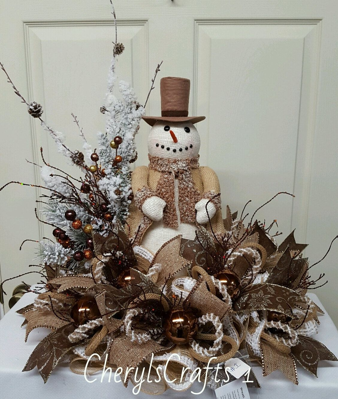 Reserved for wendy burlap snowman centerpiece christmas