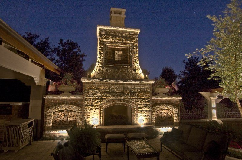 Outdoor Fireplaces With Lights | Burr Ridge Fireplace Down Light Fireplace  Up Lighting On Fireplace .