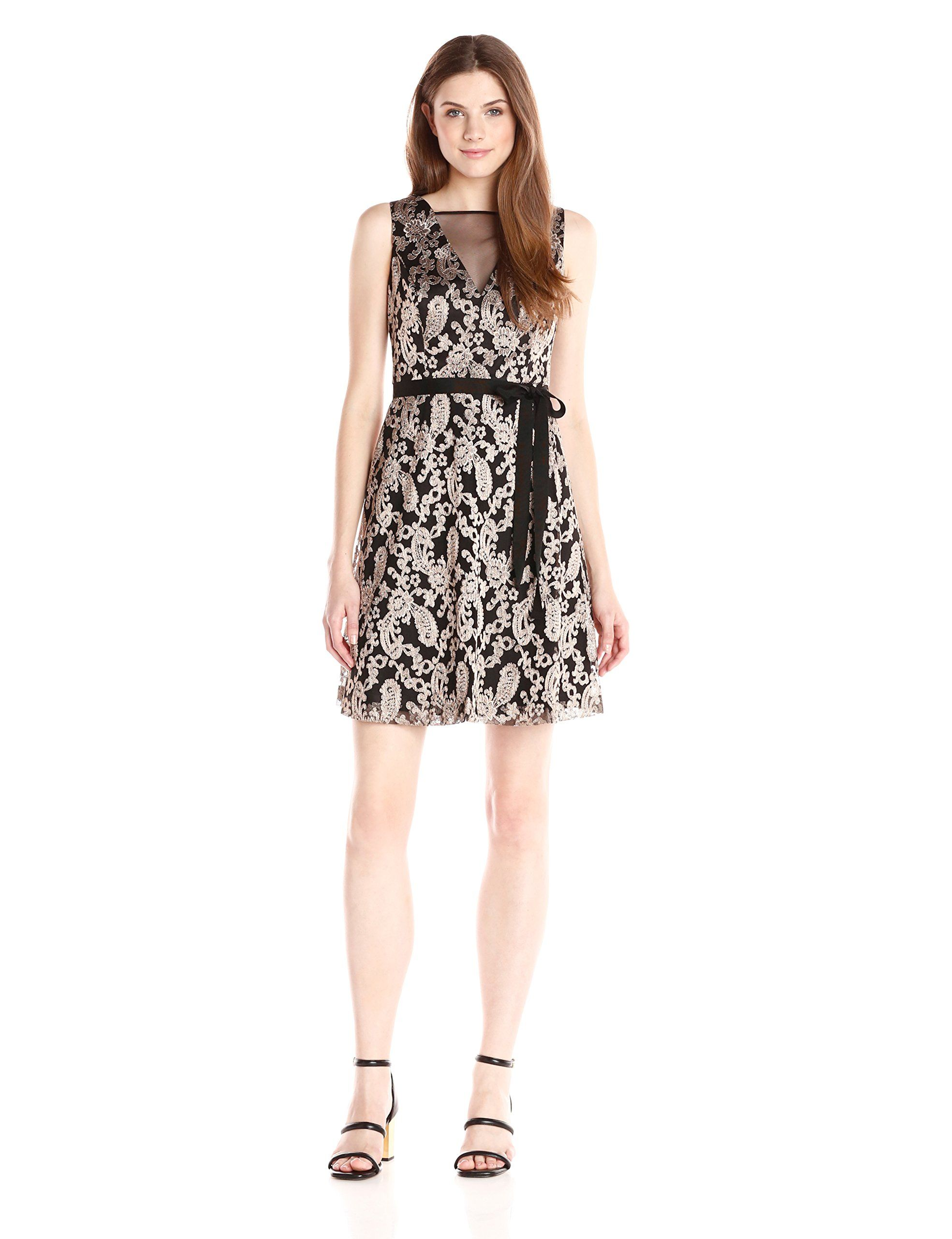 Jessica simpson womenus metallic embellished party dress with