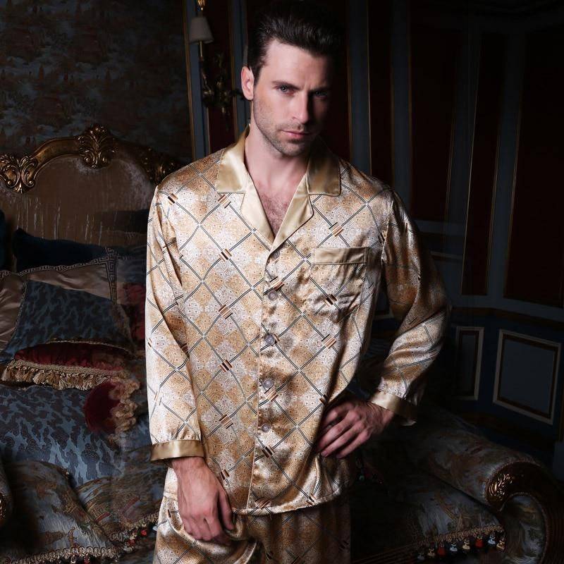 d181632ffb Brand Mens Silk Pajamas Set High Quality Male 100%Silk Long-Sleeve 2 ...